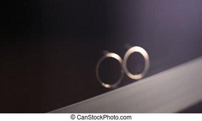Gold Wedding Rings out of focus macro closeup shoot diamon...