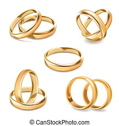 Gold wedding rings pair vector 3D realistic icons set - Gold...