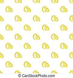 Gold wedding rings pattern, cartoon style