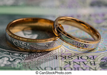 Gold wedding rings surrounded by a stack of Polish banknotes.