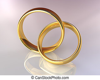 Two gold rings linked together, laced rings, 3d render