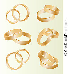Gold wedding rings vector background set concept