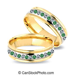 Gold wedding rings with diamonds. Vector