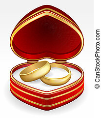 Gold wedding rings with heart-shaped box