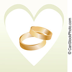 Gold wedding rings with heart shaped card vector