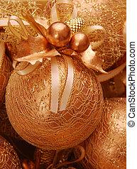 gold, weihnachten, kugeln