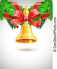 gold, weihnachtsglocke, mit, rotes band, auf, tanne, dekor