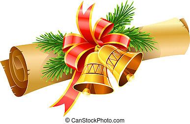 gold, weihnachtsglocken, mit, roter bogen, und, papierrolle