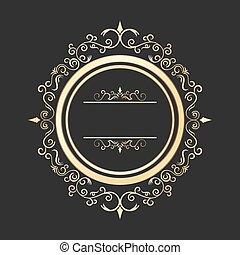 gold, weinlese, rahmen, calligraphic, design, vector.,...