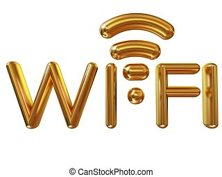 Gold wifi icon for new year holidays. 3d illustration