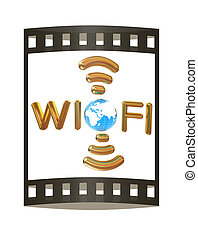 Gold wifi icon for new year holidays. 3d illustration. The film strip