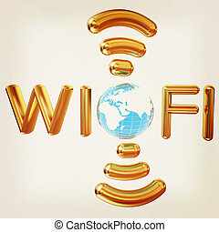 Gold wifi icon for new year holidays. 3d illustration. Vintage style.