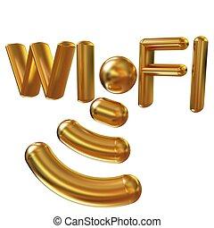 Gold wifi iconl. 3d illustration