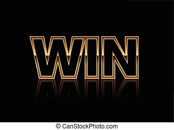 Gold Win banner isolated on black background in vector format