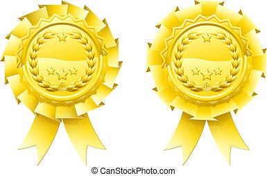 Gold winners laurel rosettes