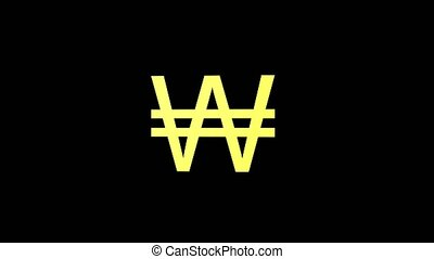 Gold won currency symbol rotate in black background