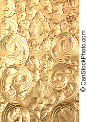Gold wood carve - Abstract Gold wood carving background