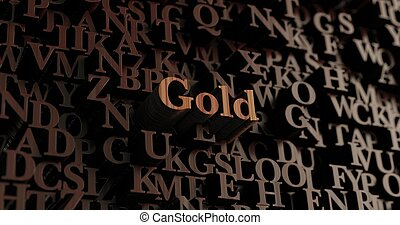 Gold - Wooden 3d rendered letters/message