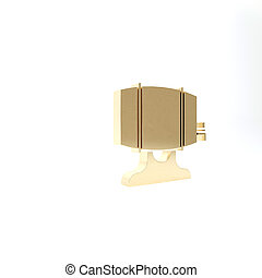 Gold Wooden barrel on rack with stopcock icon isolated on white background. 3d illustration 3D render