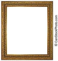 Gold wooden frame for painting or picture isolated on white background