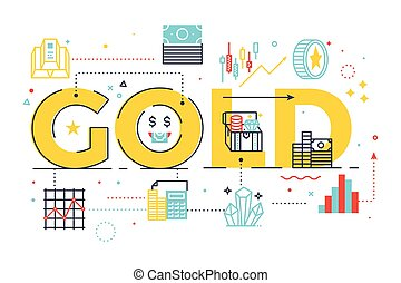 Gold word lettering illustration