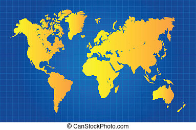Gold World Map On Blue Grid Gradient Background Vector...