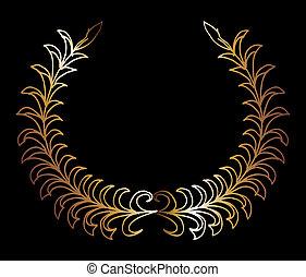 gold wreath hand drawn vector art