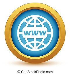 Gold www world icon on a white background. Vector illustration
