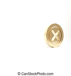 Gold X Mark, Cross in circle icon isolated on white background. Check cross mark icon. 3d illustration 3D render
