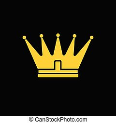 Gold yellow crown icon. Vector symbol of king, royal