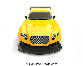 Gold yellow super car - front view