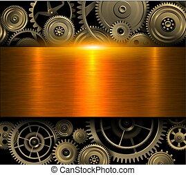 gold, zahnräder, hintergrund, metallisch