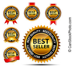 gold, zeichen, verkäufer, vektor, schablone, etikett, am besten