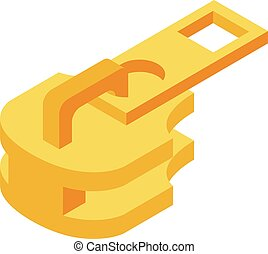 Gold zipper puller icon, isometric style