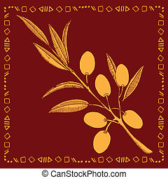 gold, zweig, olive, etikett