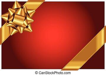goldbogen, vektor, hintergrund, glänzend, rotes