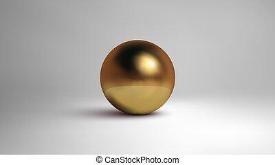 Golded sphere isolated on white background. 3d vector illustration.