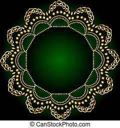 gold(en), パターン, フレーム, 緑の背景