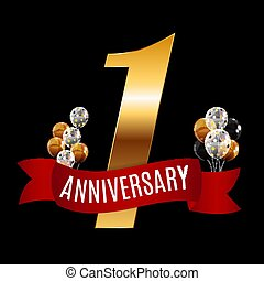 Golden 1 Years Anniversary Template with Red Ribbon Vector Illustration