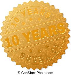 Golden 10 YEARS Medal Stamp