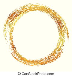 golden 2 layer circle crayon frame or border, for quote, message, information, advertise, announcement or other text placement, isolated on white