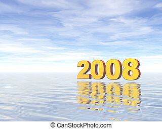 2008 - golden 2008 text in water landscape - 3d illustration...