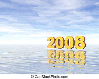 2008 - golden 2008 text in water landscape - 3d illustration...