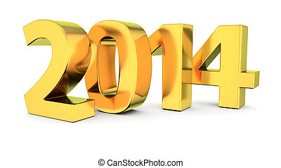 Golden 2014 - Big golden digits 2014 on the white background