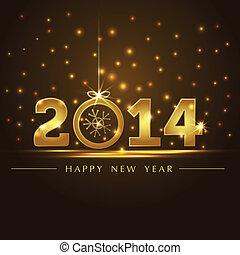golden 2014 year card presentation