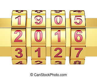 Golden 2016 Year combination lock
