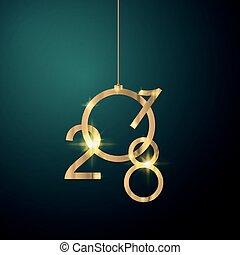Golden 2018 Happy New Year . Christmas themed invitations
