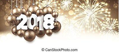 Golden 2018 New Year banner.