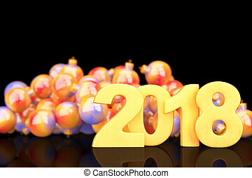 Golden 2018 new year figures with baubles in the back on black background