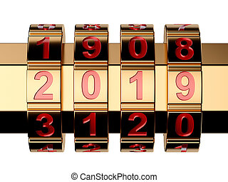 3d render of golden 2019 Year combination lock